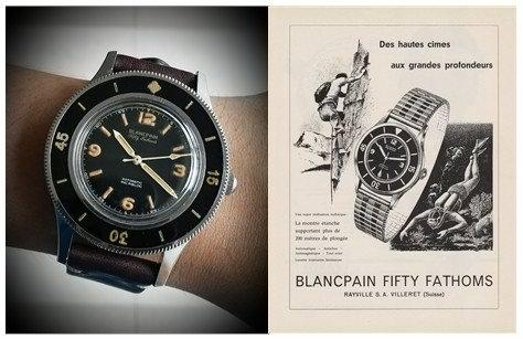 Blancpain Fifty Fathoms 1953 RI dial with small Rotomatic font and vintage ad