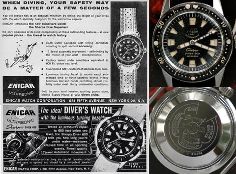 Enicar Diver 600 ad and photos of actual watch (front and back)