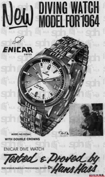 Introductory Ad for the Enicar Sherpa Diver