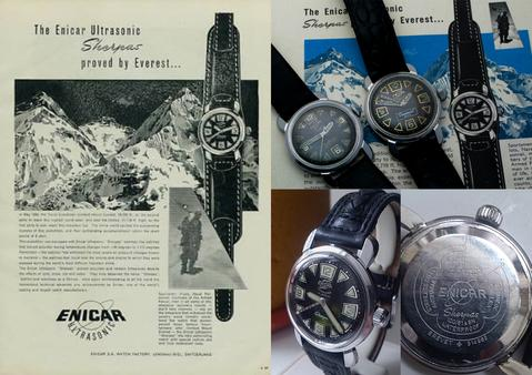 1957 Enicar Sherpa ad with actual Sherpa models