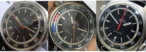 "A. Omega Seamaster ""Pilot"" Chronostop in black sunskin; B. Omega Chronostop Regatta in matte black; C. Seamaster Chronostop Jumbo Diver in black"