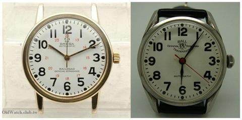 Omega Railmaster Railroad Official Standard dial and Ball Trainmaster Official Standard dial