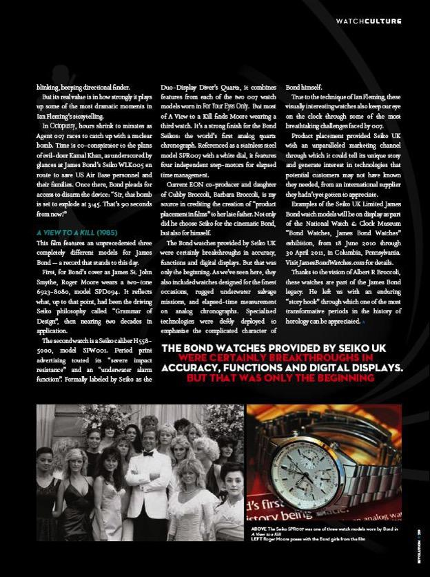 Seiko 7A28-7020 James Bond magazine feature