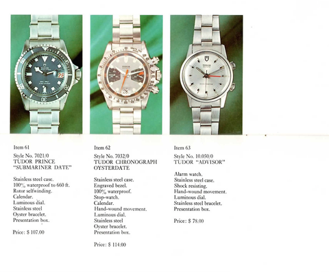 Tudor Submariner catalog - variations